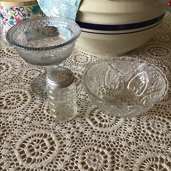 Vintage Other - Antique odds and ends embossed glass three pieces